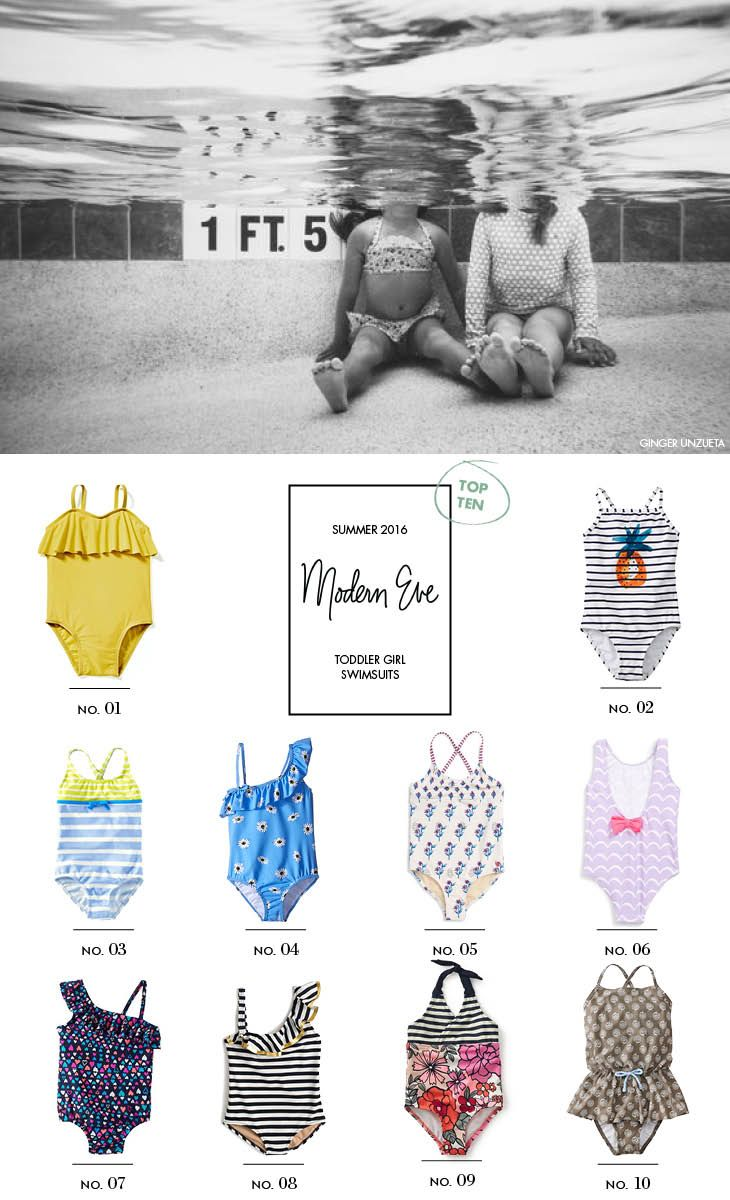 Top Ten: Toddler Girl Swimsuits - Modern Eve #toddlerfashion #babystyle #summerstyle #swimsuits #onepiece #ruffles #stripes