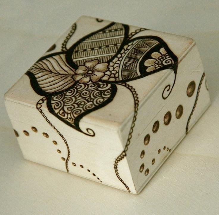 Handmade woodburning pyrography  box. $20.00, via Etsy.