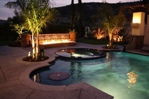 17 images about swimming pools on pinterest fire pits patio and pools for Swimming pools with built in tables
