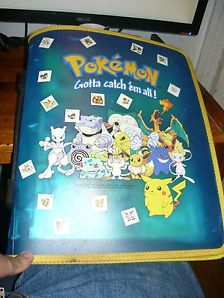Rare Pokemon Cast Blue Binder with zipper, W/100+ cards and Plastic holders
