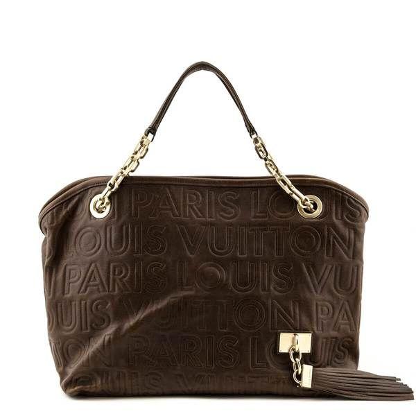 Louis Vuitton Brown Embossed Leather Paris Souple Whisper Pm