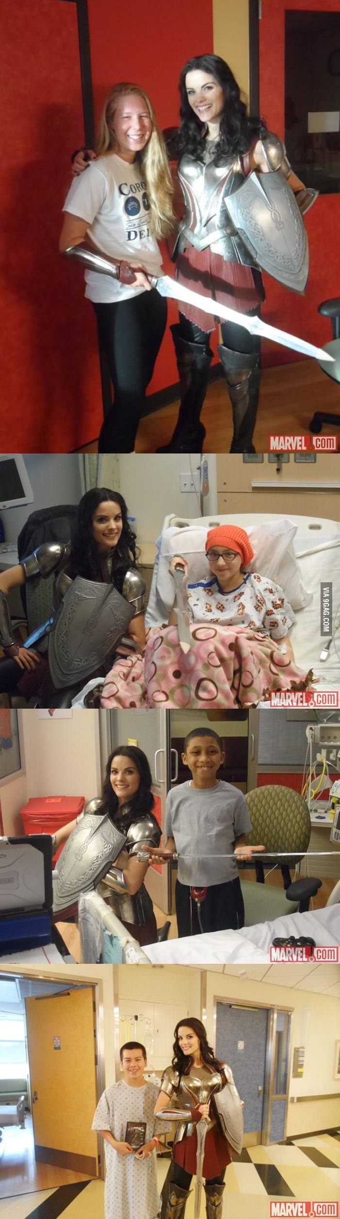 Jaimie Alexander (Lady Sif) visits sick kids in full costume.