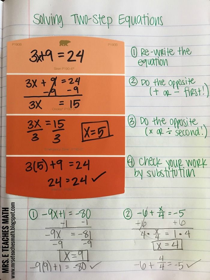 Solving Two-Step Equations Interactive Notebook Page Idea - for algebra in middle school or high school  | http://mrseteachesmath.blogspot.com/