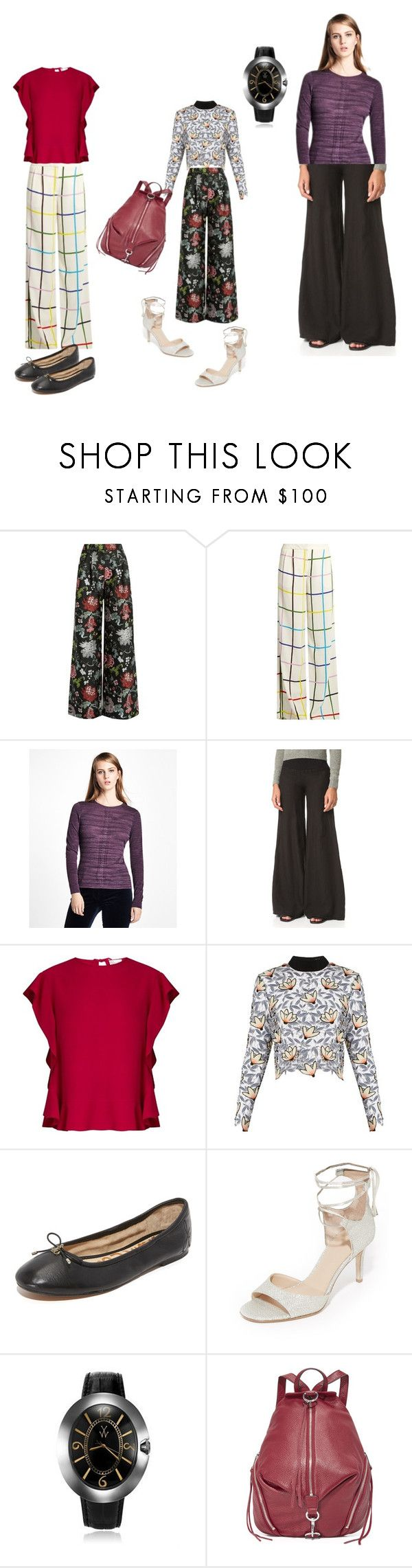 """""""Wide-leg Pants..**"""" by yagna ❤ liked on Polyvore featuring ADAM, Mary Katrantzou, Brooks Brothers, Enza Costa, RED Valentino, self-portrait, Sam Edelman, Diane Von Furstenberg, Toy Watch and Rebecca Minkoff"""