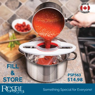"FILL & STORE from Regal Gifts  Holds bags firmly open to allow for easy pouring without the mess! Works with most sizes and brands of bags. Also works with non-resealable bags. The perfect solution for bagging hard to store soups, stews, pastas, sauces and snacks. Rugged plastic construction, won't wear out. Also great for filling piping bags. Compact storage and dishwasher safe. Patent pending. Made in Canada. (12-1/4""L x 4-3/4""W) Product Number: PSP563 http://www.davesgift.shopregal.ca"