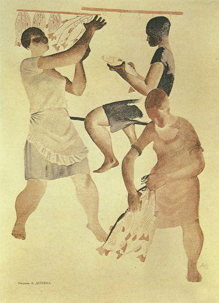 Художник Александр Дейнека. Иллюстрации. Рыбачки. Иллюстрация из журнала «Прожектор» (1929. № 29). 1929