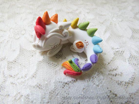 Cute Polymer Clay Dragon Miniature Figurine in Rainbow – 1.3 Inch Figure by PlushlikeCreatures