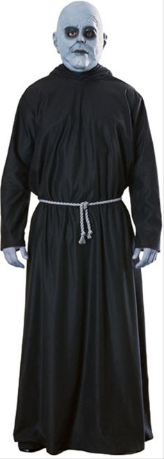 Uncle Fester Addams Family - This is a licensed Uncle Fester costume from The Addams Family movies. Fester is a fan favourite and now you can dress up like him. This is a three-piece costume with a robe, belt and mask. The robe is hooded and opens up at the collar in the back and fastens with string. The hood is large and pointed. The belt is a grey rope that ties around the waist. #fester #yyc #calgary #costume #halloween #mens