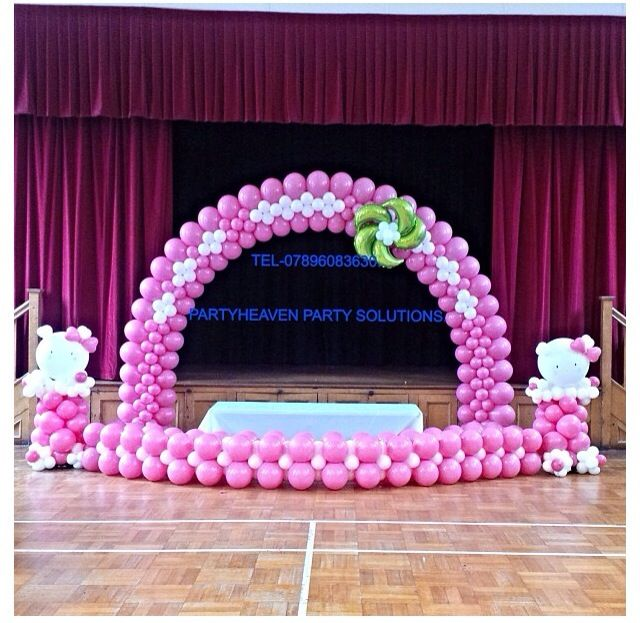 Hello kitty balloon arch hello kitty balloon arch for Balloon arch decoration ideas