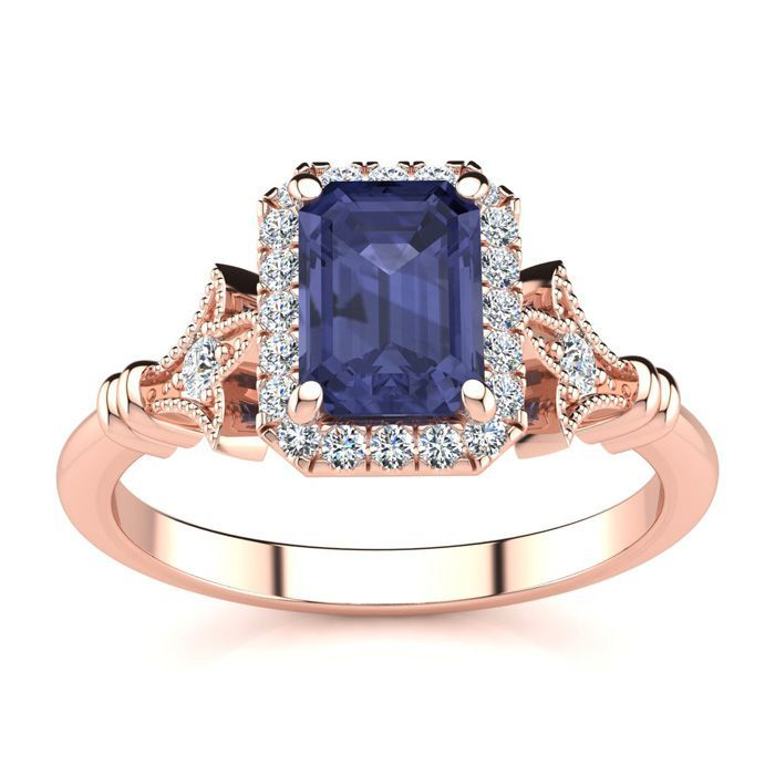 Sapphire Rings September Birthstone 1 1 2 Carat Sapphire And Halo Diamond Vintage Ring In 14 Karat Rose Gold Superjeweler Emerald Ring Vintage Vintage Diamond Vintage Diamond Rings