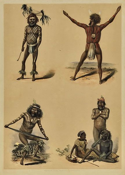 """Portraits of The Aboriginal Habitants"" , J.W.Giles 1847  from 'South Australia Illustrated' by George French Angas"
