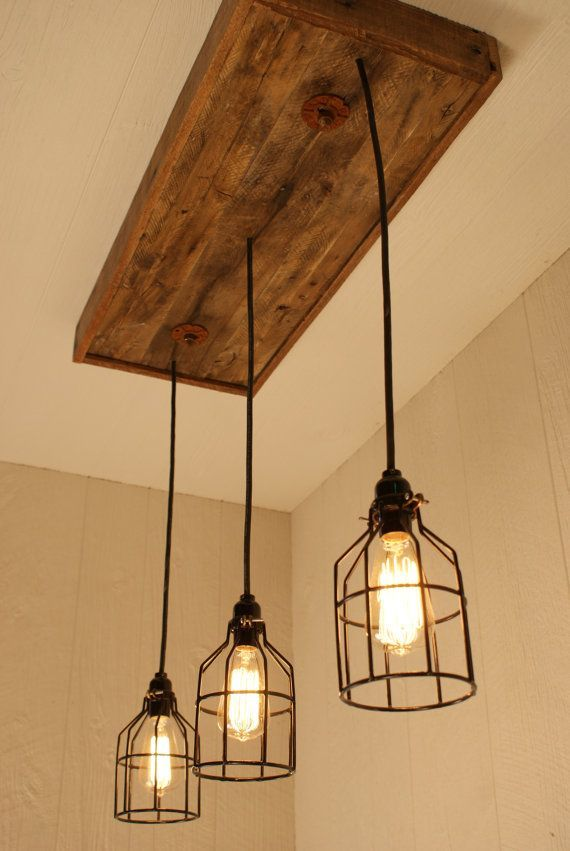 Cage Light Chandelier Cage Lighting Edison by Bornagainwoodworks #overkitchensinklighting