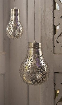 Spray paint through lace on bulbs. Love this!