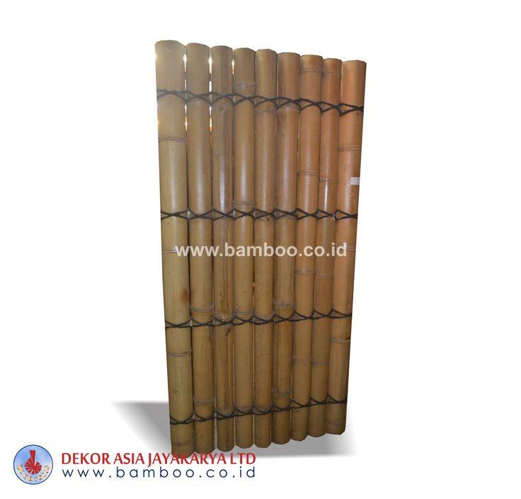 Half cut natural bamboo fence 4 back slats black coco rope