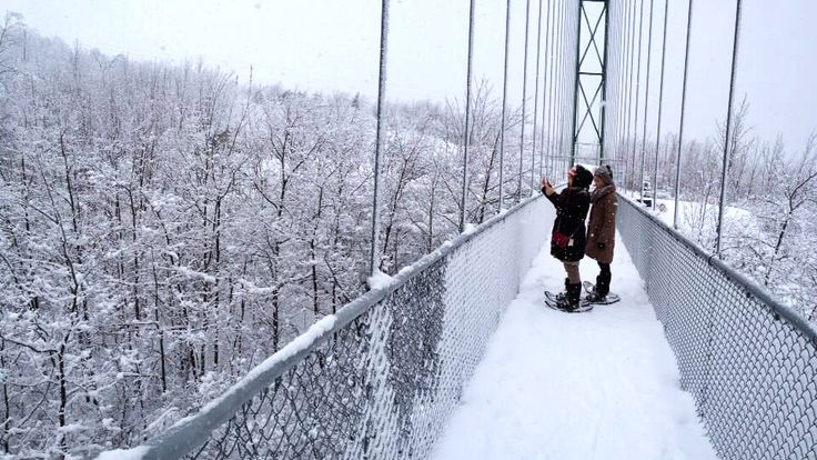 You Can Snowshoe Across A Snow-Covered Suspension Bridge In Ontario This Winter