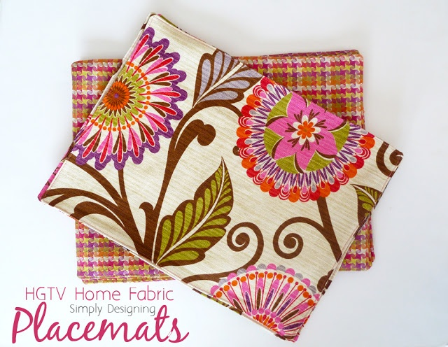 @HGTV HOME decor #fabric placemats! @Simply Designing {Ashley Phipps} shows you how!