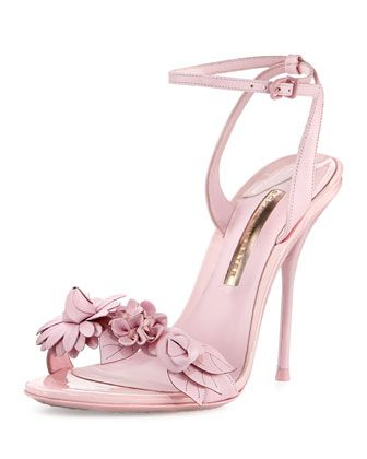 Lilico Floral Leather 100mm Sandal, Pink by Sophia Webster at Neiman Marcus.