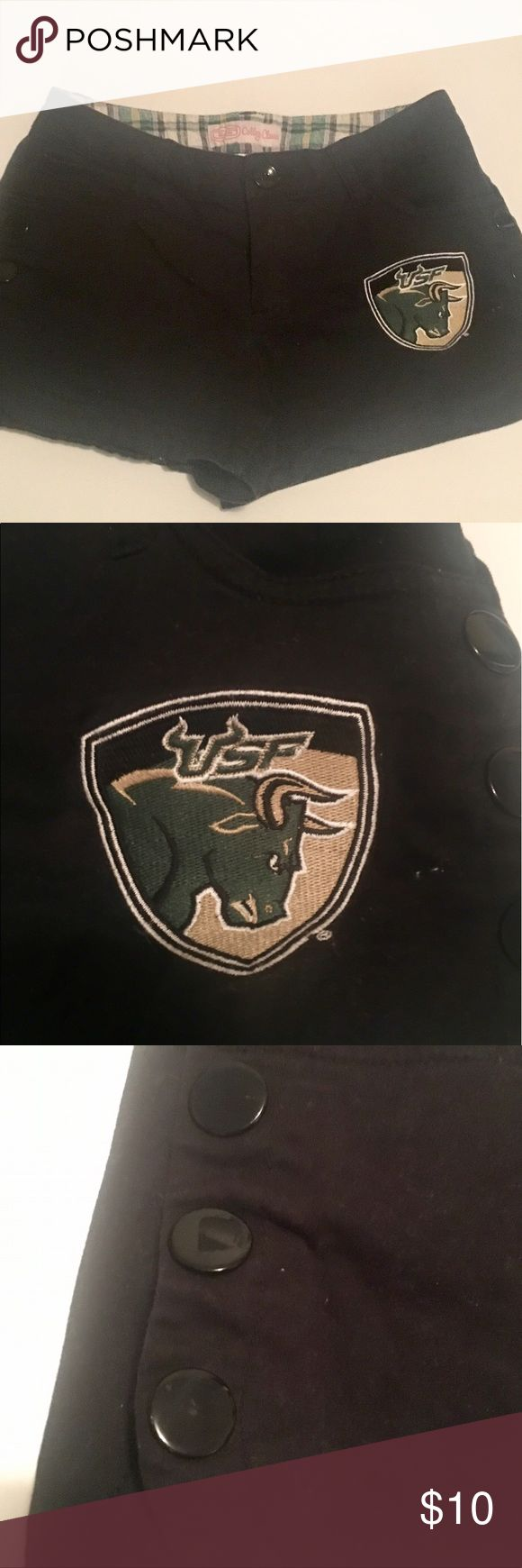 Black University of South Florida Bulls shorts!!! University of South Florida (USF) Bulls black shorts! Juniors size 5 and have the USF logo on the front left and the word BULLS on the back pocket!!! The shorts also have 3 cute snaps on the sides!! Bought at the USF bookstore! Shorts