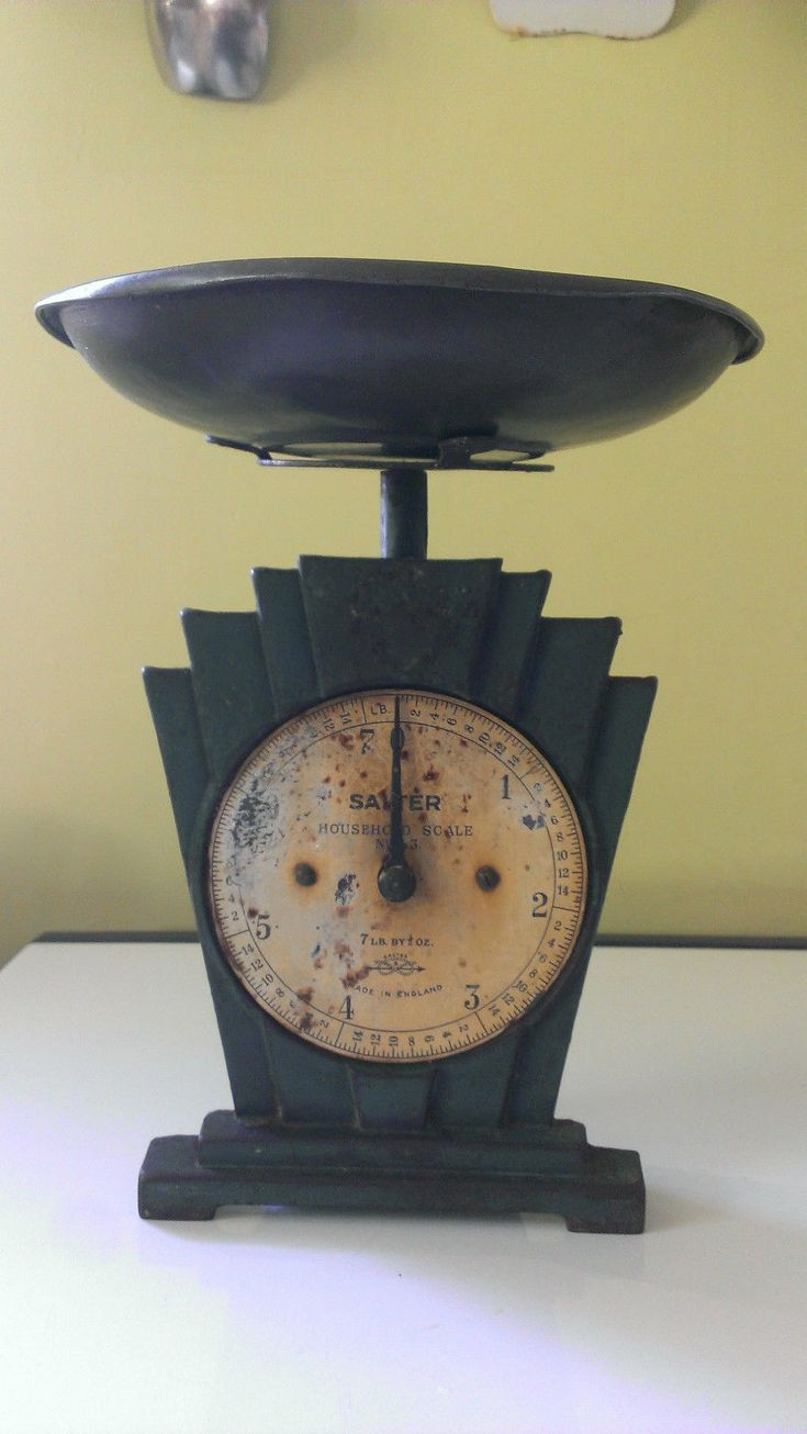 Retro bathroom scales - Vintage Salter Art Deco 1930s Kitchen Weigh Scales To 7lb Green Cast Iron W Dish