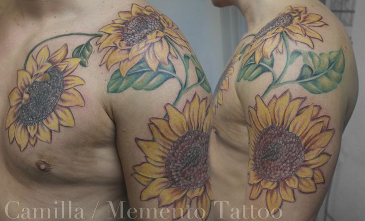 Sunflowers representing family. Color tattoo, upper arm and chest.