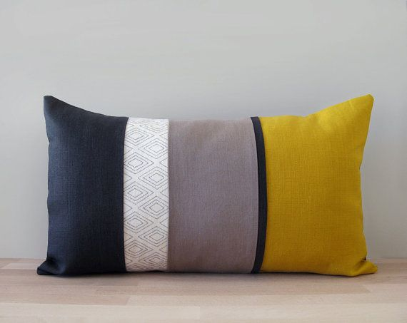 Mustard yellow, charcoal and taupe grey linen decorative pillow cover with a silver hand painted geometric pattern - 50x30cm / 20x12inches