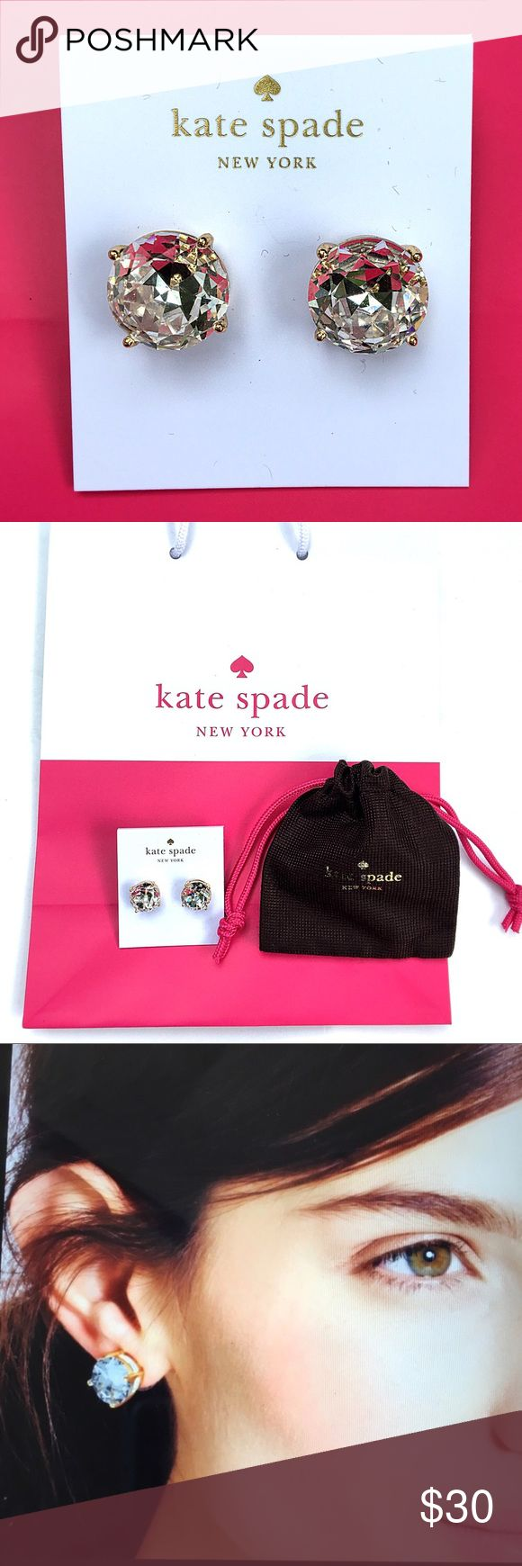 """NWT KATE SPADE large gumdrop stud earrings Back in stock!!!! NWT Kate Spade statement sparkling clear large gumdrop earrings!!! Classic clear studs with gold tone four prong setting that catch the light with every movement! Price includes soft drawstring pouch and Kate ♠️ gift bag! Appox 1/4"""" square: post back kate spade Jewelry Earrings"""