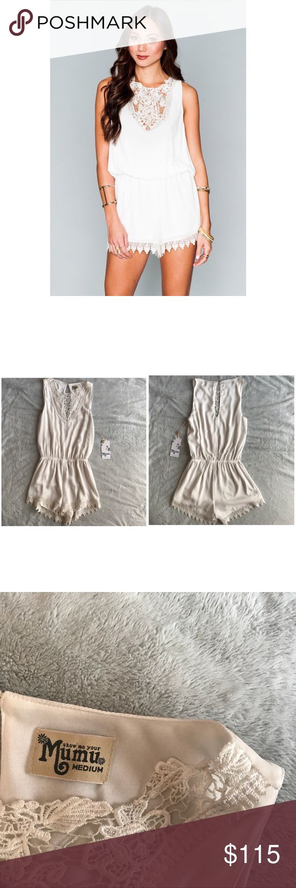 NWT Show Me Your Mumu Lace Face Romper Ivory Crisp Brand new, never worn. Lace Face Romper by Show Me Your Mumu in Ivory Crisp. Shorts and tank romper with gorgeous scalloped lace trim on the neckline and shorts hem. Perfect for vacation or a bridal event. Keyhole detailing at back neckline with shell button closure. Elastic waist allows for some stretch. Note: this has been tried on & stored, w/ faint marks near the back button and underarms, see photos. Size medium, see photos for…