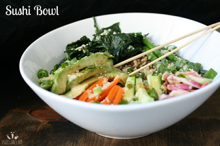 A veggie roll in a bowl! Tons of veggies over brown rice and quinoa and topped with miso sauce and Tamari.