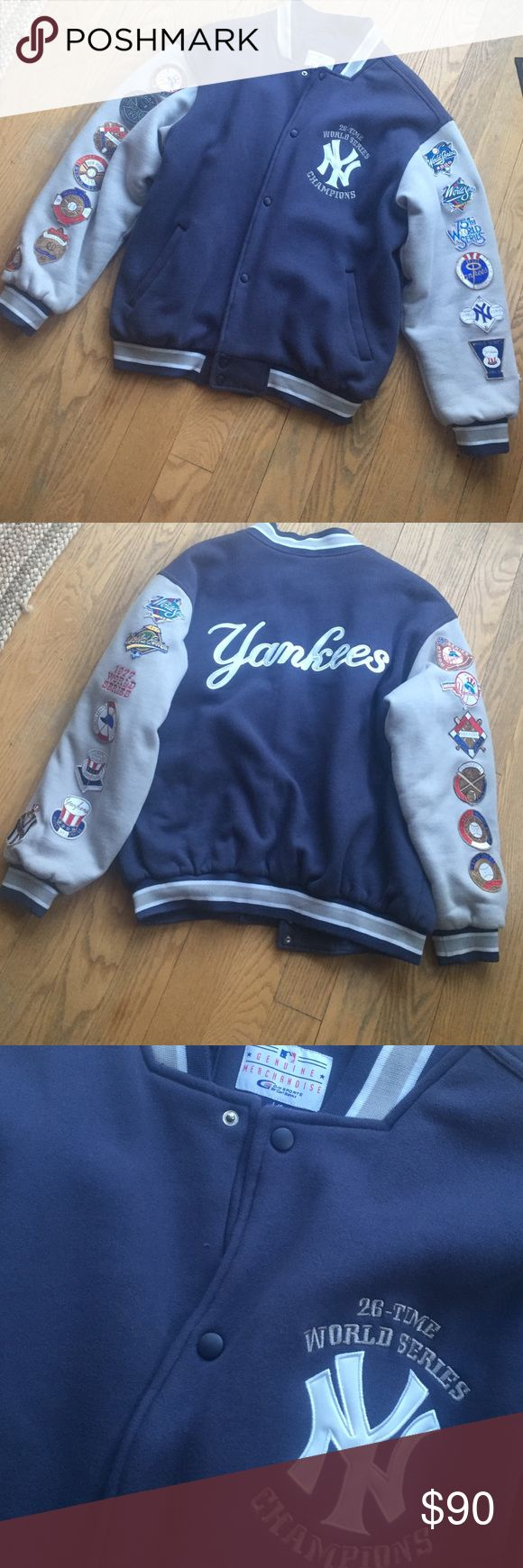 Yankee varsity jacket Yankee varsity jacket. Sweat shirt material. 26 patches for the 26 World Series wins. Yankees embroidered across the back and Yankees logo embroidered on the front. Lightly worn. Replica. Jackets & Coats Bomber & Varsity