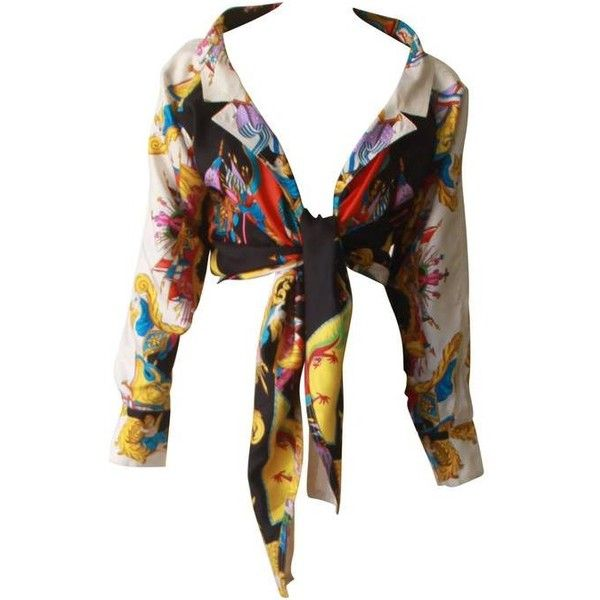 Preowned Gianni Versace Silk Printed Tie Shirt Spring 1993 ($1,400) ❤ liked on Polyvore featuring tops, shirts, black, shirt top, silk top, tie top, versace shirt and versace top