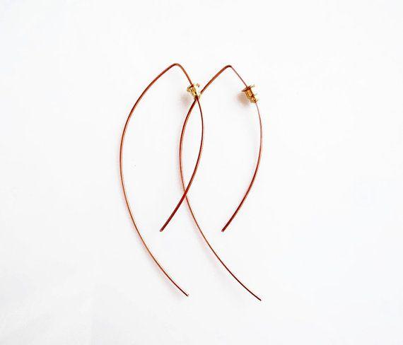 V Arc oorbellen van ebben hout Open Hoop Earrings Hoop Earrings, minimale geometrische oorbellen, koperen sieraden