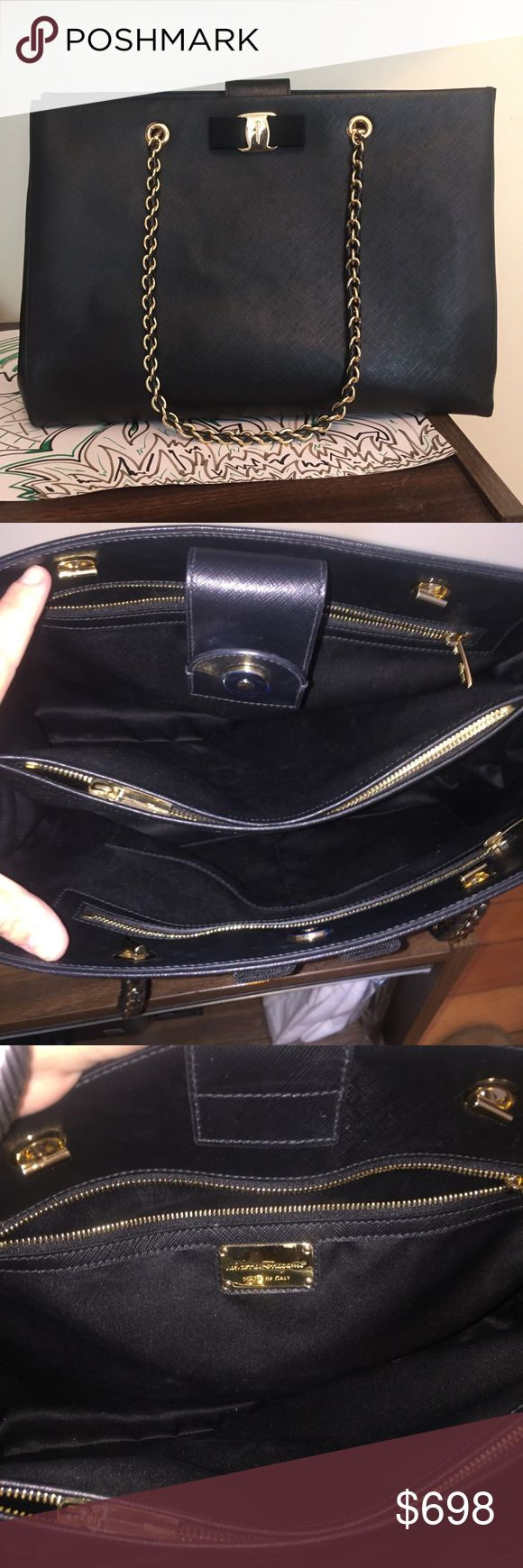 Like new! Salvatore Ferragamo black bag AUTHENTIC!! Like new, no signs of wear inside or out. Black saffiano leather Salvatore Ferragamo purse with three compartments inside, gold and black chain handles. Gold emblem on outside with ribbon. Originally purchased for $1,450+ tax. Last two photos are stock images. Check out my closet for more designer items ...Tags; Prada, Gucci, Christian louboutin, Louis Vuitton, Celine, Hermes, Tory burch, Burberry, jimmy Choo, Dior Salvatore Ferragamo Bags…