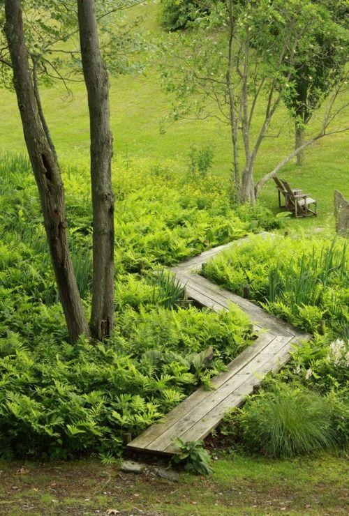 wooden garden path