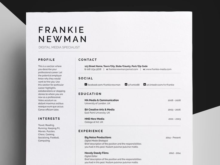 29 best Menagerie of Resume Design images on Pinterest Resume - single page resume