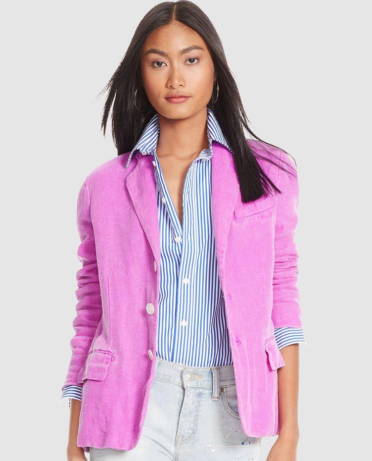 Chaqueta de lino de mujer Polo Ralph Lauren en color rosa