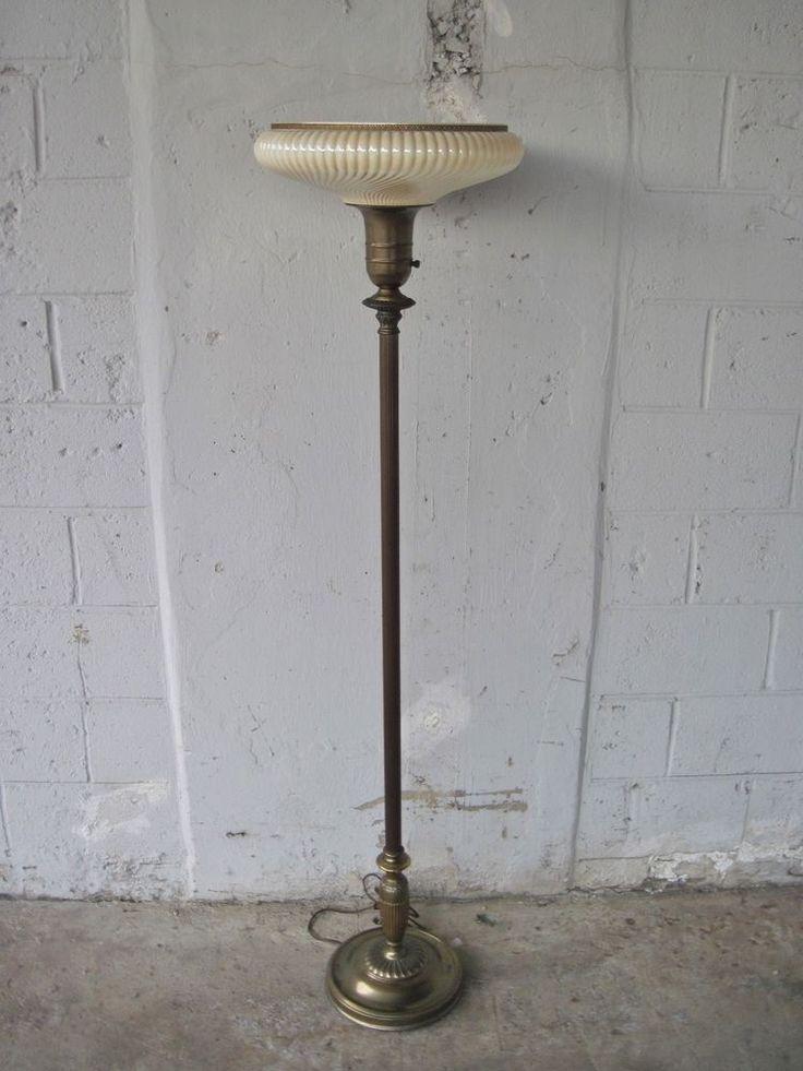Antique Art Nouveau Torchiere Funeral Casket Floor Lamps