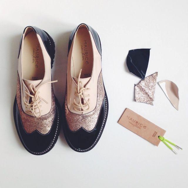 Collaboration La Fiancee du Panda x Maurice Manufacture - Chaussures blogueuse - derbies glitter- J'aime beaucoup!!