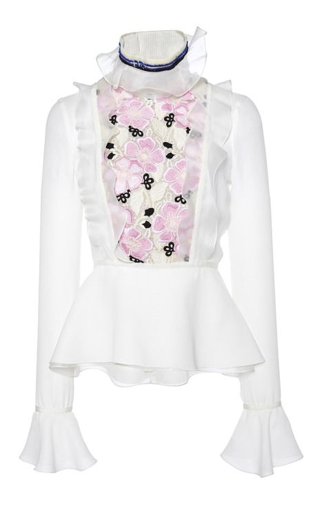 Ruffled Organza Blouse With Floral Macrame Bodice by Giambattista Valli for Preorder on Moda Operandi