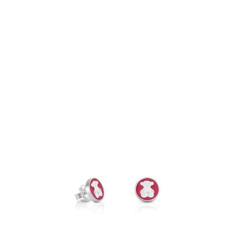 Srebrne kolczyki Tous Spot z czerwonym szkliwem