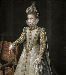 Nos encontramos ante un retrato de la Infanta Isabel Clara Eugenia, niña en 1570 realizado por Alonso Sánchez Coello.