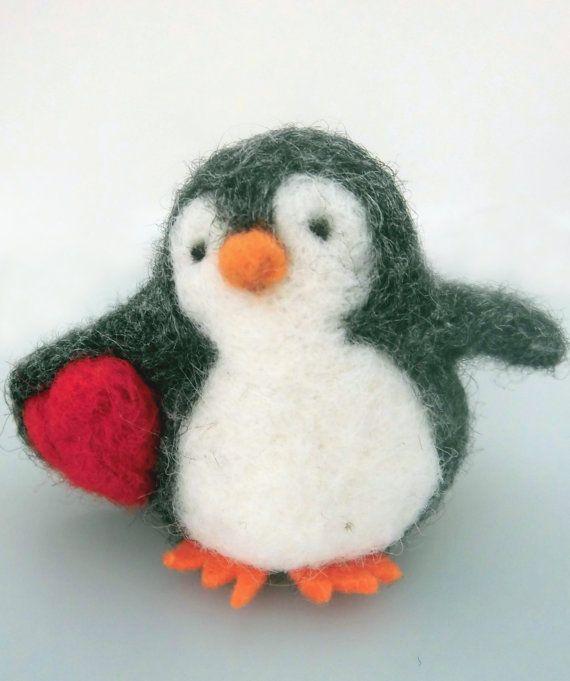 Valentine Penguin, felt animal, cute children decoration, red heart , gift for her,  gift for kid, needle felted animal, Felt Penguin, stuff