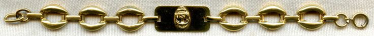 Flying Tiger Antiques Online Store: Nice WWII USN Sweetheart Bracelet in Gold-Plated Sterling with CPO Emblem