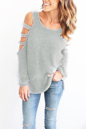 2f57bf1335cfed Light Grey Casual Round Neck Cold Shoulder Top - US 13.99