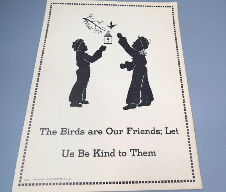 Children & Birds Silhouette Poster, Child Guidance Teachers Aid Poster, Child's Room Decor by UrbanRenewalDesigns on Etsy