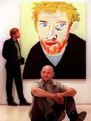 Adam Cullen, with his Archibald winning portrait of David Wenham