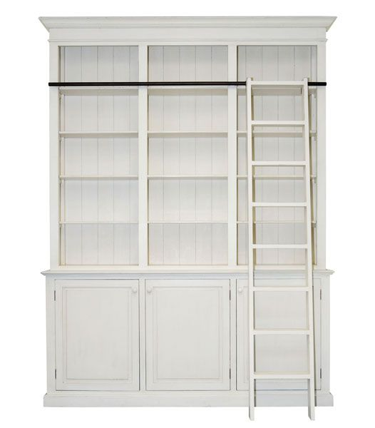 Long Island French Provincial Library Cabinet Antique White Ladder Bookcaselibrary