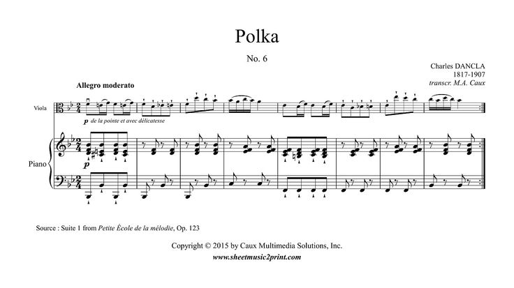 "Charles DANCLA (1817-1907) : Polka in B flat Major, Op. 123, Suite 1, No. 6 From ""Petite École de la mélodie"", Op. 123 (Paris, 1868)  www.sheetmusic2print.com/Dancla/Viola/Polka-123-6.aspx"
