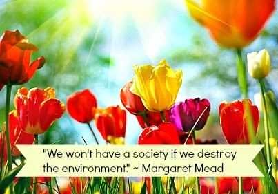 """""""We won't have a society if we destroy the environment."""" —Margaret Mead"""