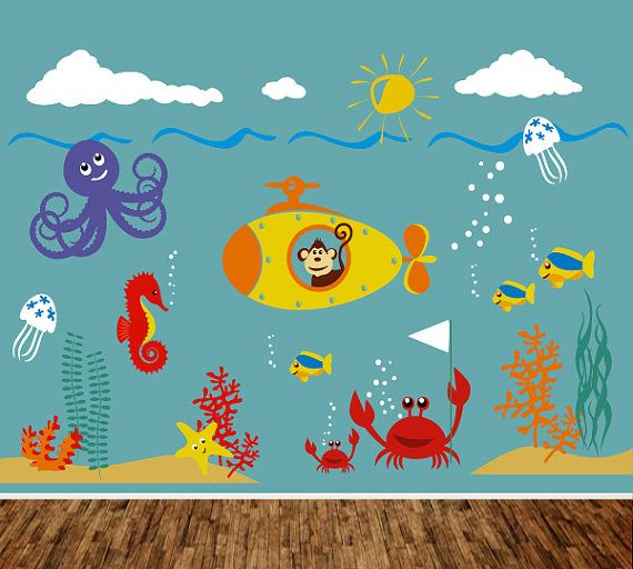 Children Wall Decal Wall sticker Fish Decal by ArtHomeDecals, $255.00