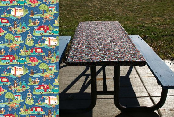Kid-proof, wind-proof, pet-proof tablecloth doesn't need any clips to keep it from shifting or blowing away. Fitted table cover in 6 or 8 foot lengths. Perfect for folding tables and picnic tables. Vintage campers and woodland creatures on blue.
